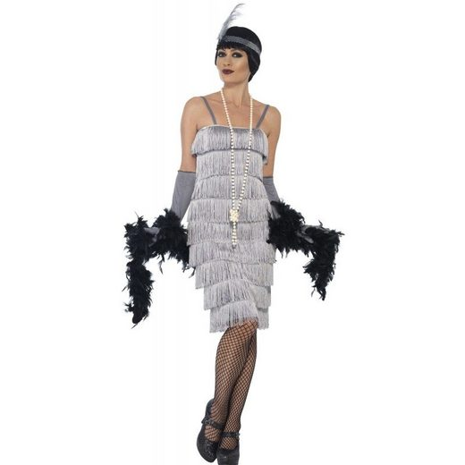 20er Jahre Carla Flapper Kostüm grau