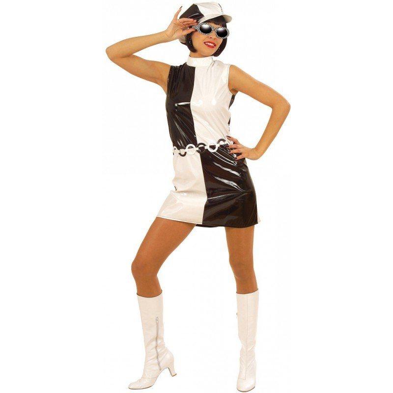 60er jahre kleid schwarz weib