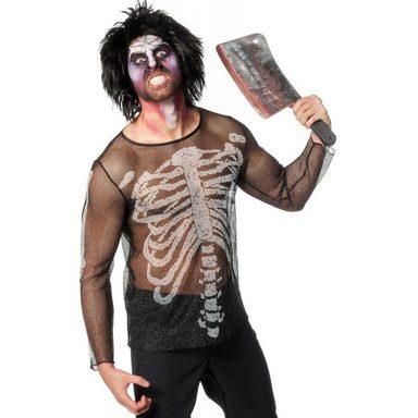 Horror Netzshirt Skelett für Damen und Herren