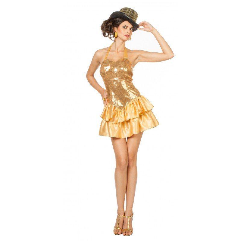 Paillettenkleid Showgirl Damenkostüm gold
