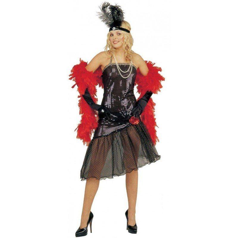 Showgirl Paillettenkleid schwarz für Damen