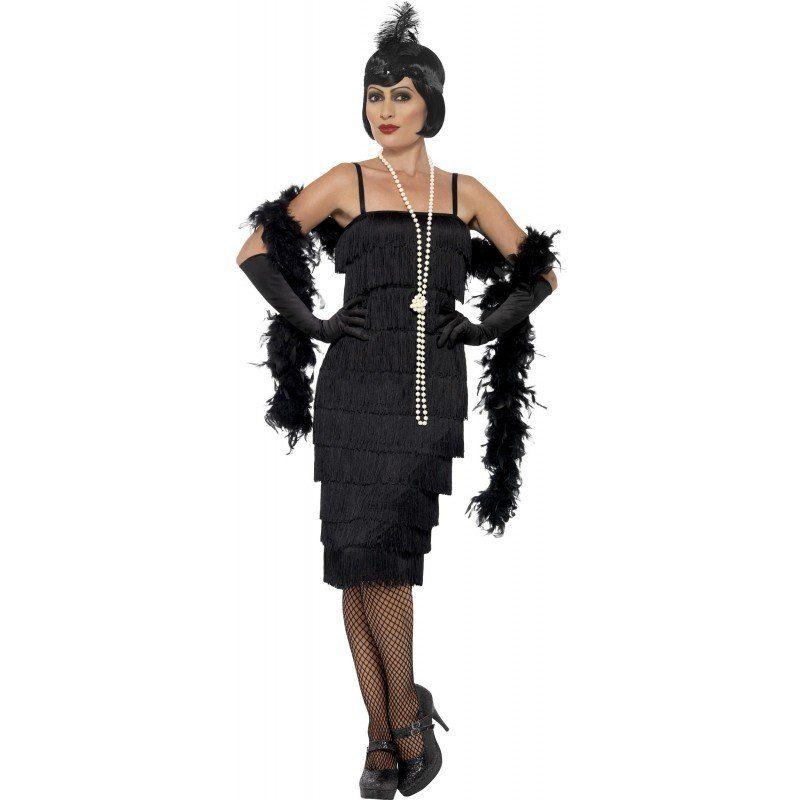 20er Jahre Carla Flapper Kostüm schwarz, Kleid endet auf dem Knie online kaufen   OTTO