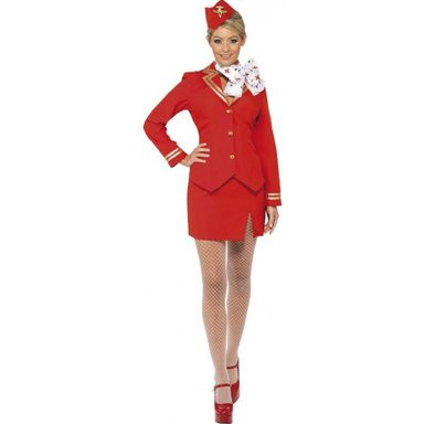 Red Airline Stewardess Kostüm