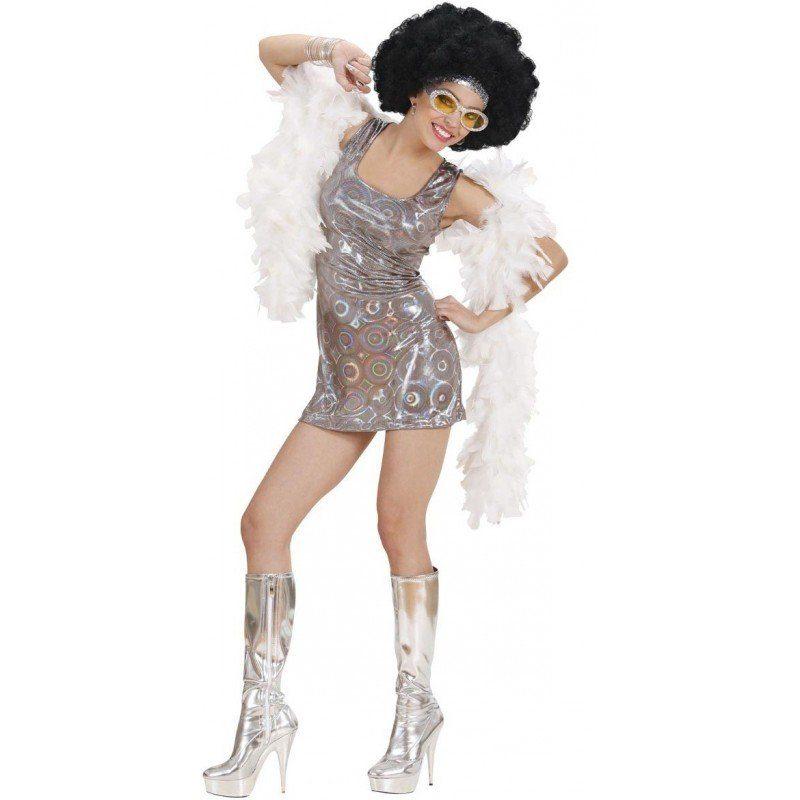 Unisex Sexy 70er Jahre Disco Diva Kostüm silber | 08003558737536