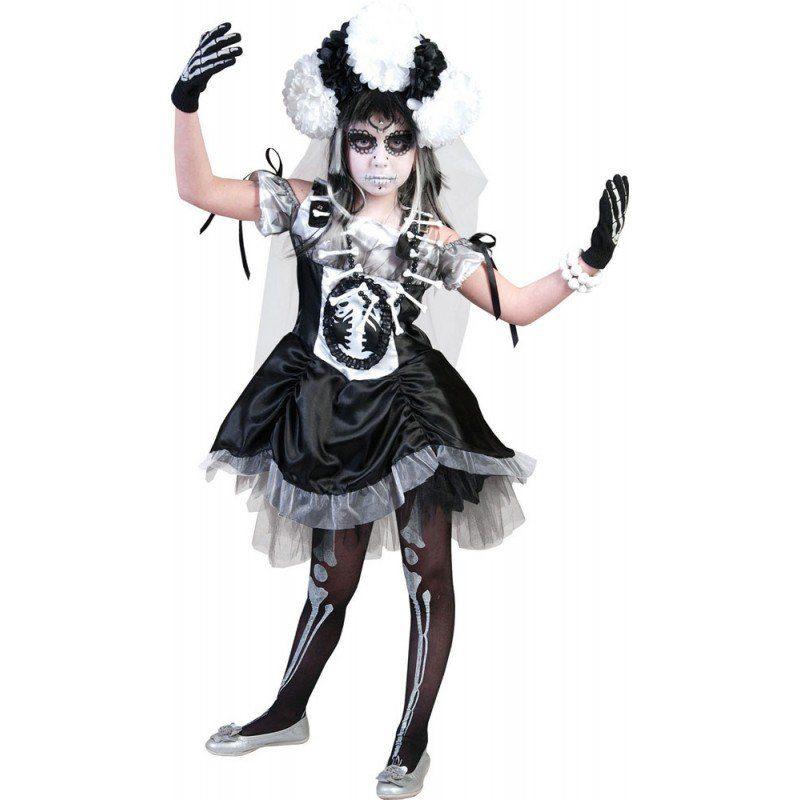 Unisex Horror Skelett Braut Halloween Kinderkostüm bunt,  mehrfarbig | 08712364315417