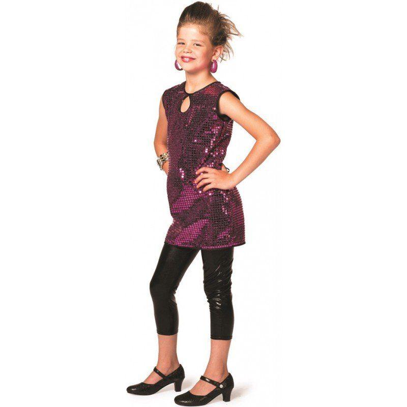 70er Disco Paillettenkleid pink für Kinder