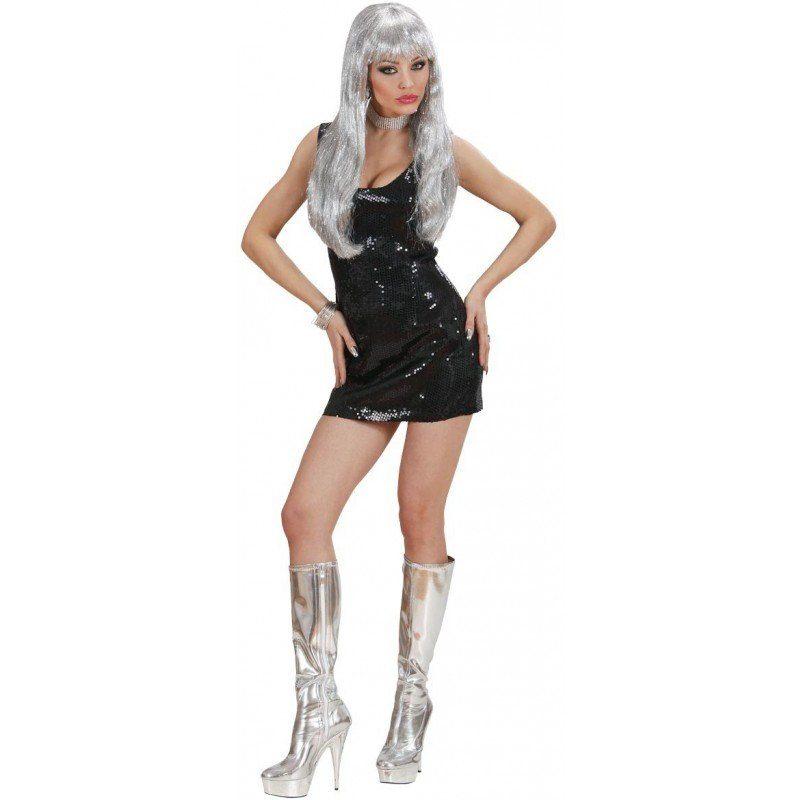 Unisex Sexy Disco Fever Paillettenkleid in schwarz schwarz | 08003558740734