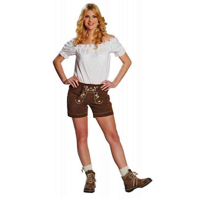 Damen,  Unisex Leder Trachtenhose für Damen kurz braun | 04002162699012
