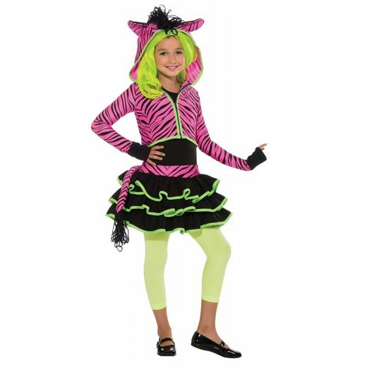 Neon Zebra Kostüm für Mädchen
