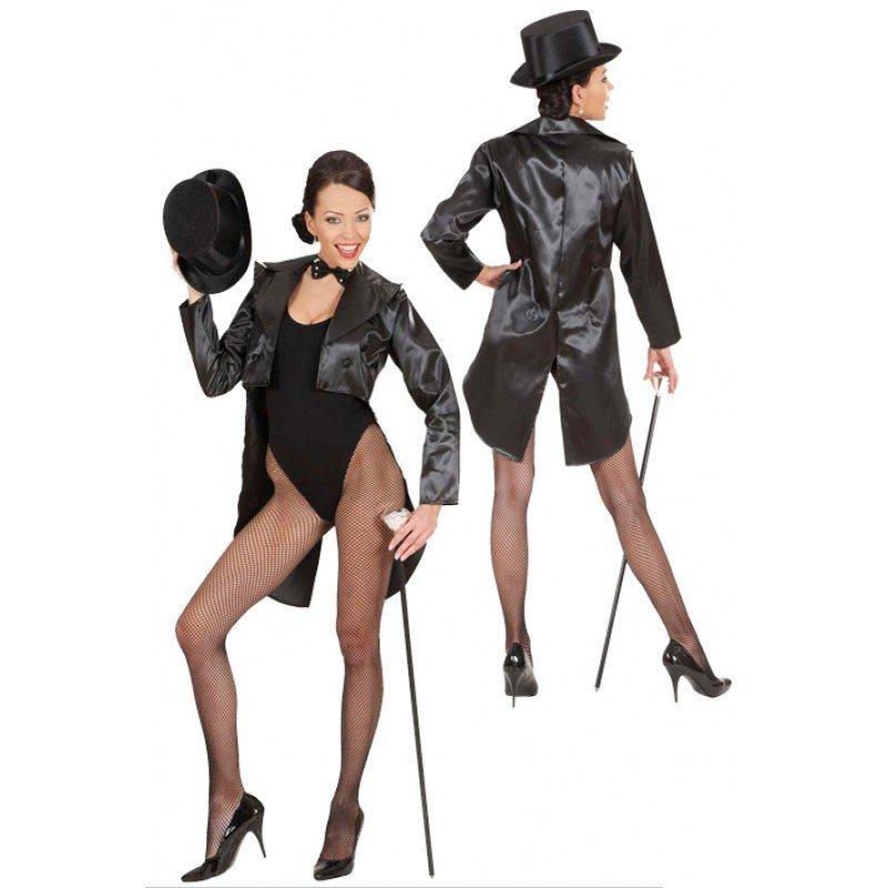 Showgirl Satin-Frack schwarz für Damen