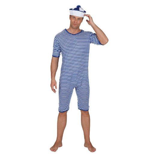 Blauweiß gestreiften Badeanzug Twenties für Herren