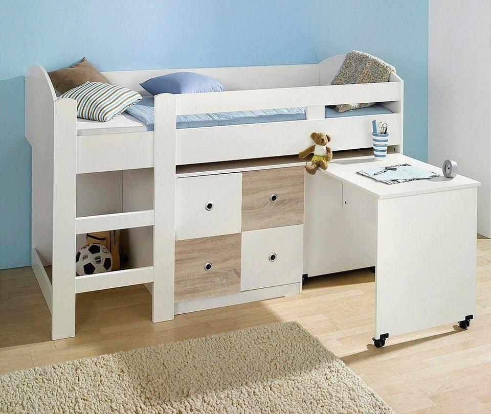 Wimex Halbhohes Bett in weiß/struktureichefarben hell