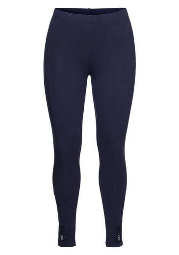 sheego Style Leggings, mit Spitzeneinsatz