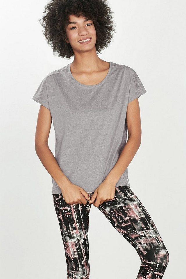 ESPRIT T-Shirt aus Material-Mix, E-DRY in MEDIUM GREY