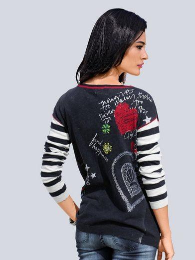 Im Moda Mit Pullover Alba Druck Rüückenteil Marineblau zMUVSp
