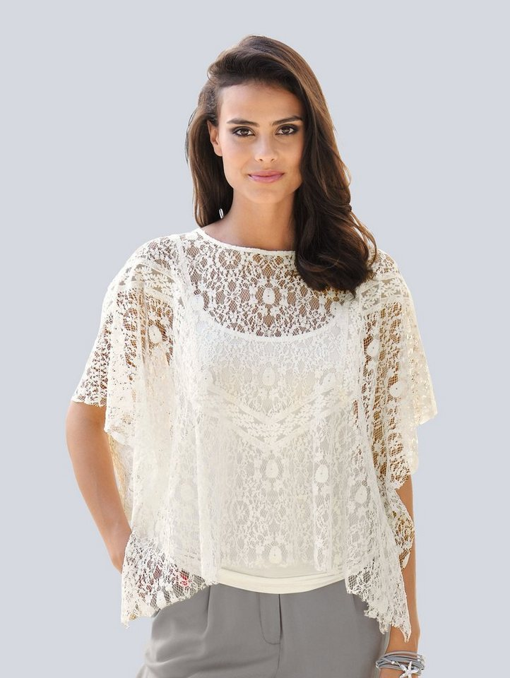 Alba Moda Spitzenshirt mit Jerseytop | Bekleidung > Shirts > Spitzenshirts | Weiß | Baumwolle - Polyamid - Viskose - Elasthan | Alba Moda