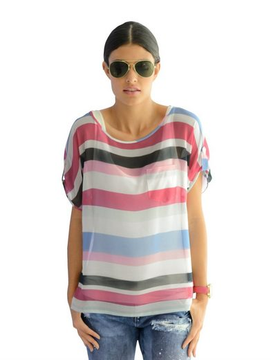 Alba Moda Blouses Shirt In Trendy Block Stripe-dessin