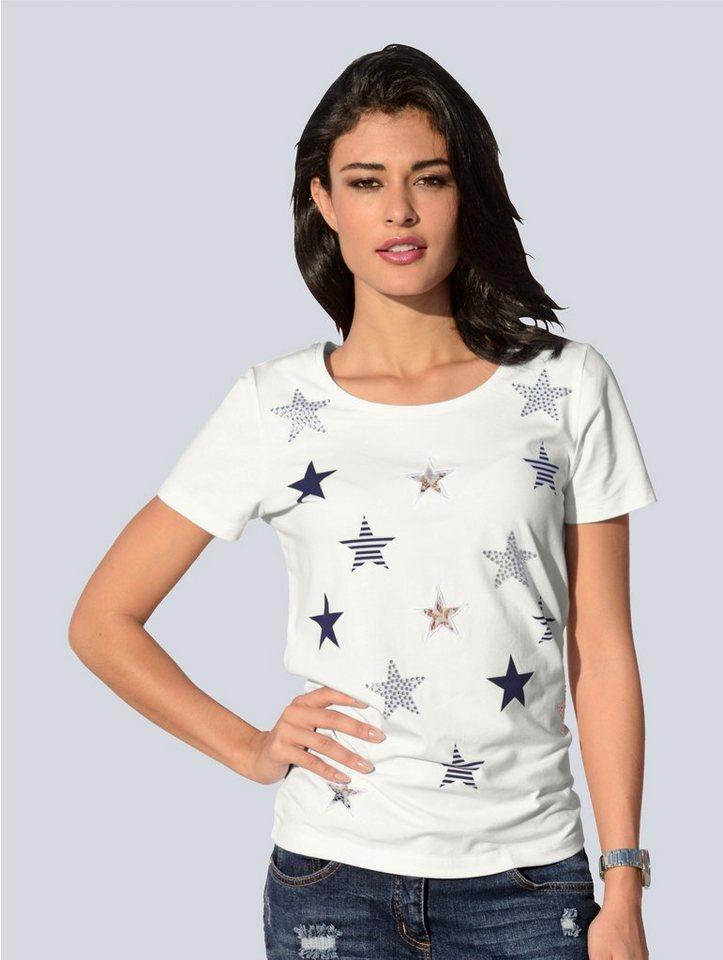 Damen Alba Moda Shirt mit Sternen weiß | 04055714602336