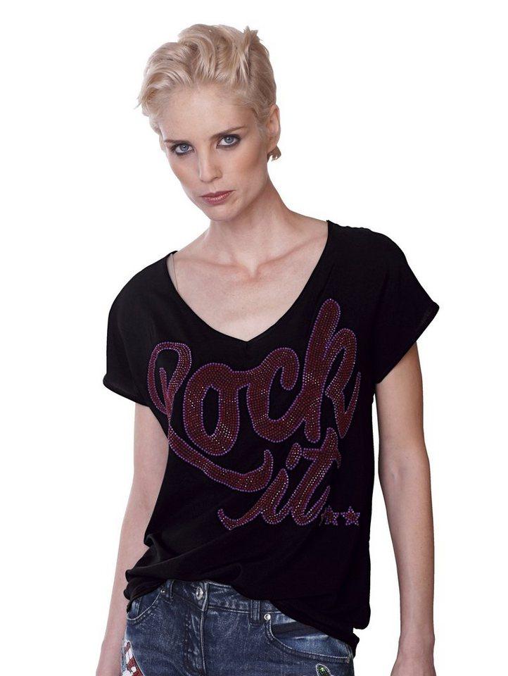 Damen Alba Moda  T-Shirt mit Strass-Schriftzug aus Webware schwarz | 04055714476401