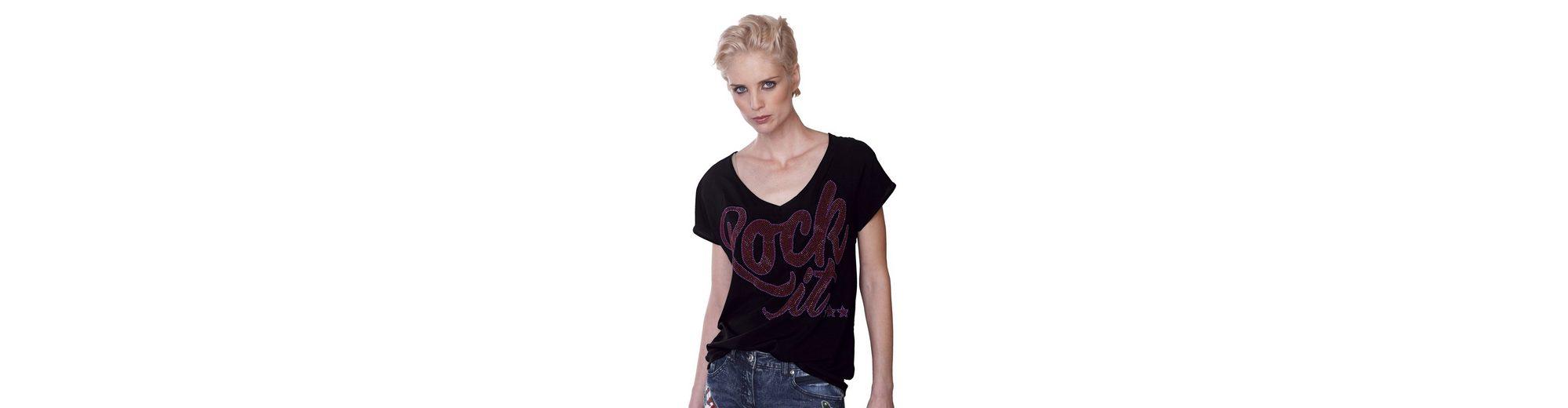 Genießen Spielraum Mit Kreditkarte Alba Moda T-Shirt mit Strass-Schriftzug aus Webware uxFvpDSQs