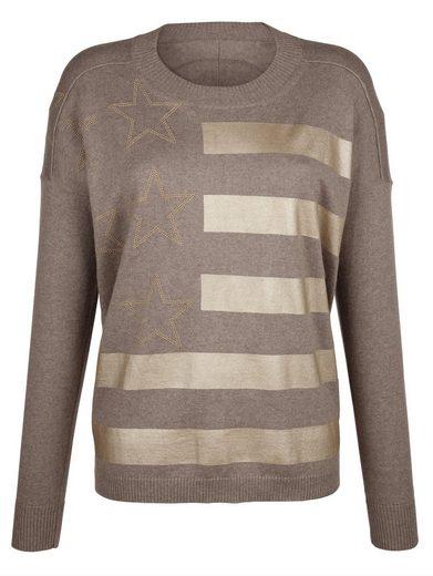 Alba Moda Oversized-Pullover mit goldfarbenen Sternen und Streifen