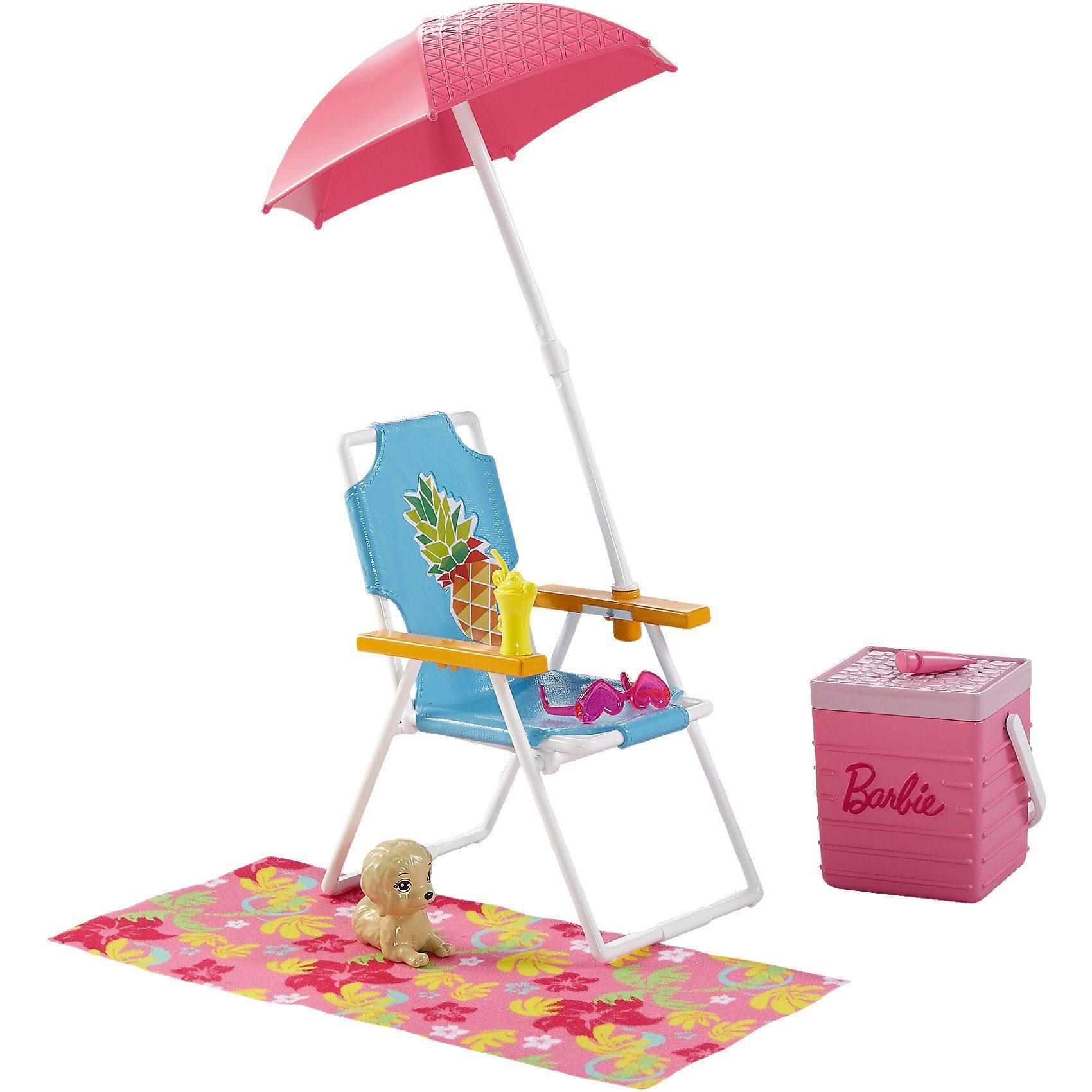 Mattel Barbie Möbel Außenbereich: Strandausflug Set