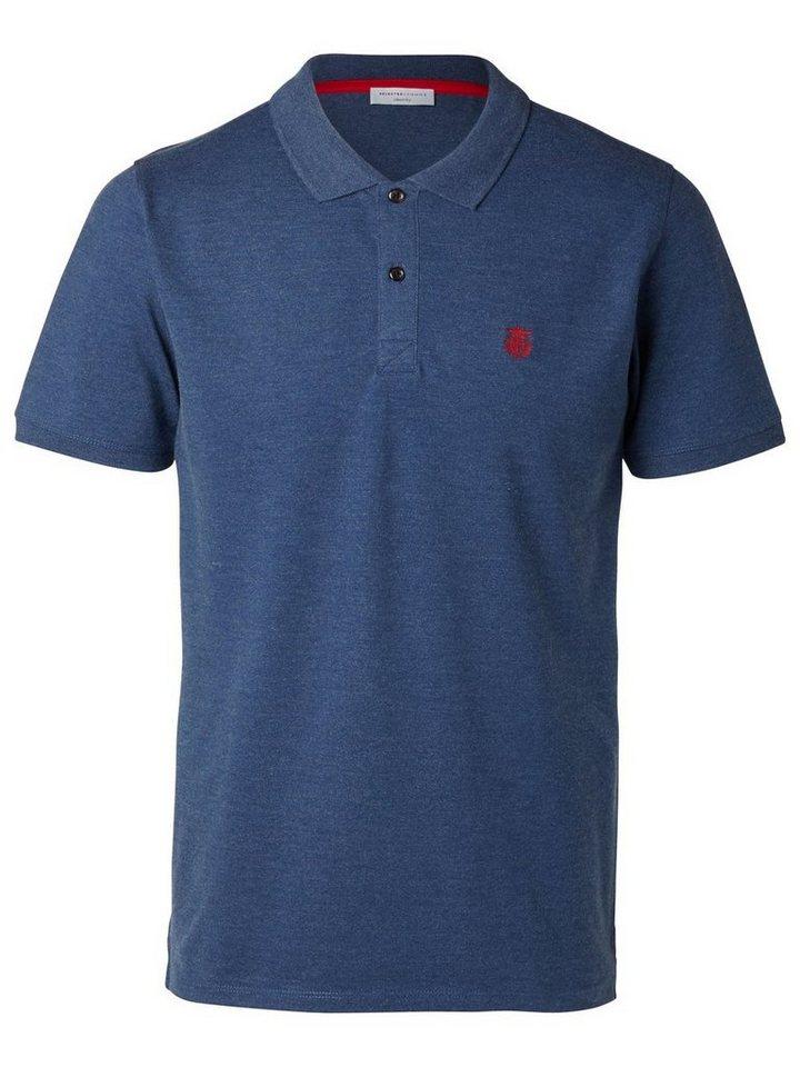 SELECTED Klassisches Poloshirt in Dark Blue Melange