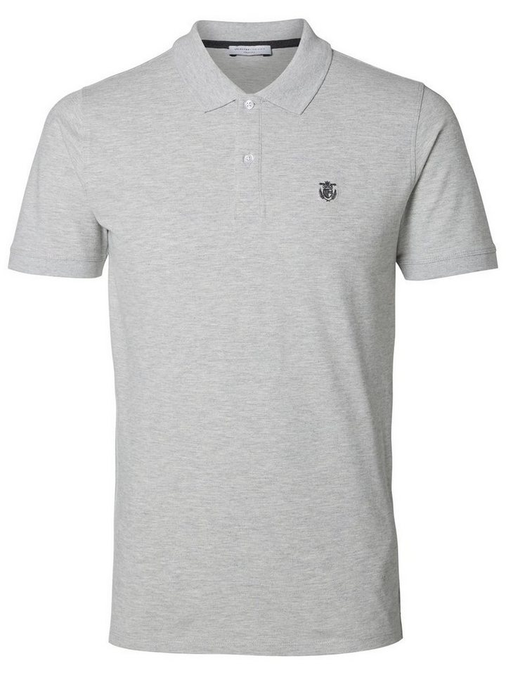 SELECTED Klassisches Poloshirt in LIGHT GREY MELANGE