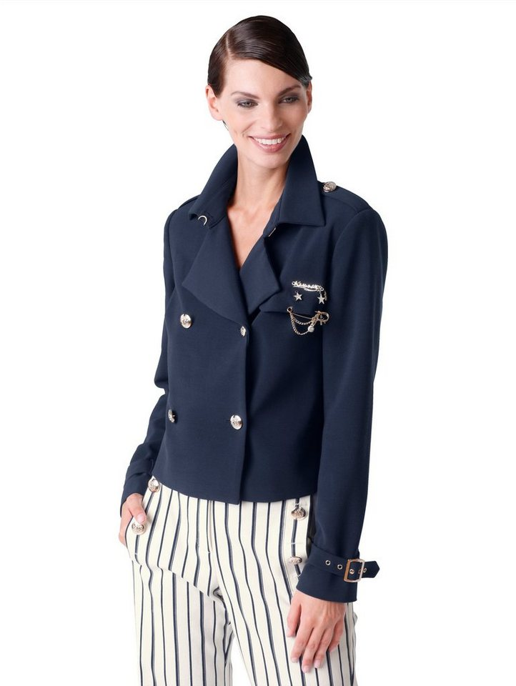 Alba Moda Kurzjacke im Trenchcoat-Style | Bekleidung > Mäntel > Trenchcoats | Blau | Polyester - Viskose - Elasthan - Acetat | Alba Moda