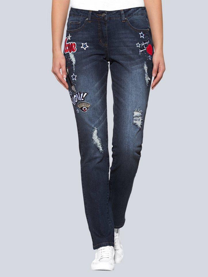 alba moda boyfriend jeans mit vielen patches otto. Black Bedroom Furniture Sets. Home Design Ideas