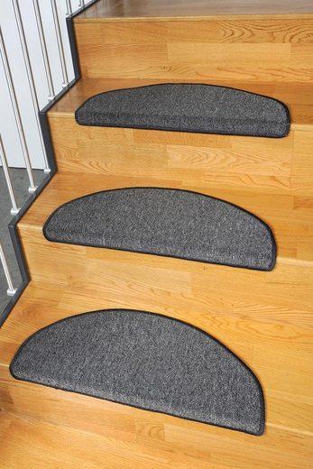 Stufenmatte »Torronto«, Living Line, halbrund, Höhe 5 mm, melierte Schlinge, 15 Stück in einem Set