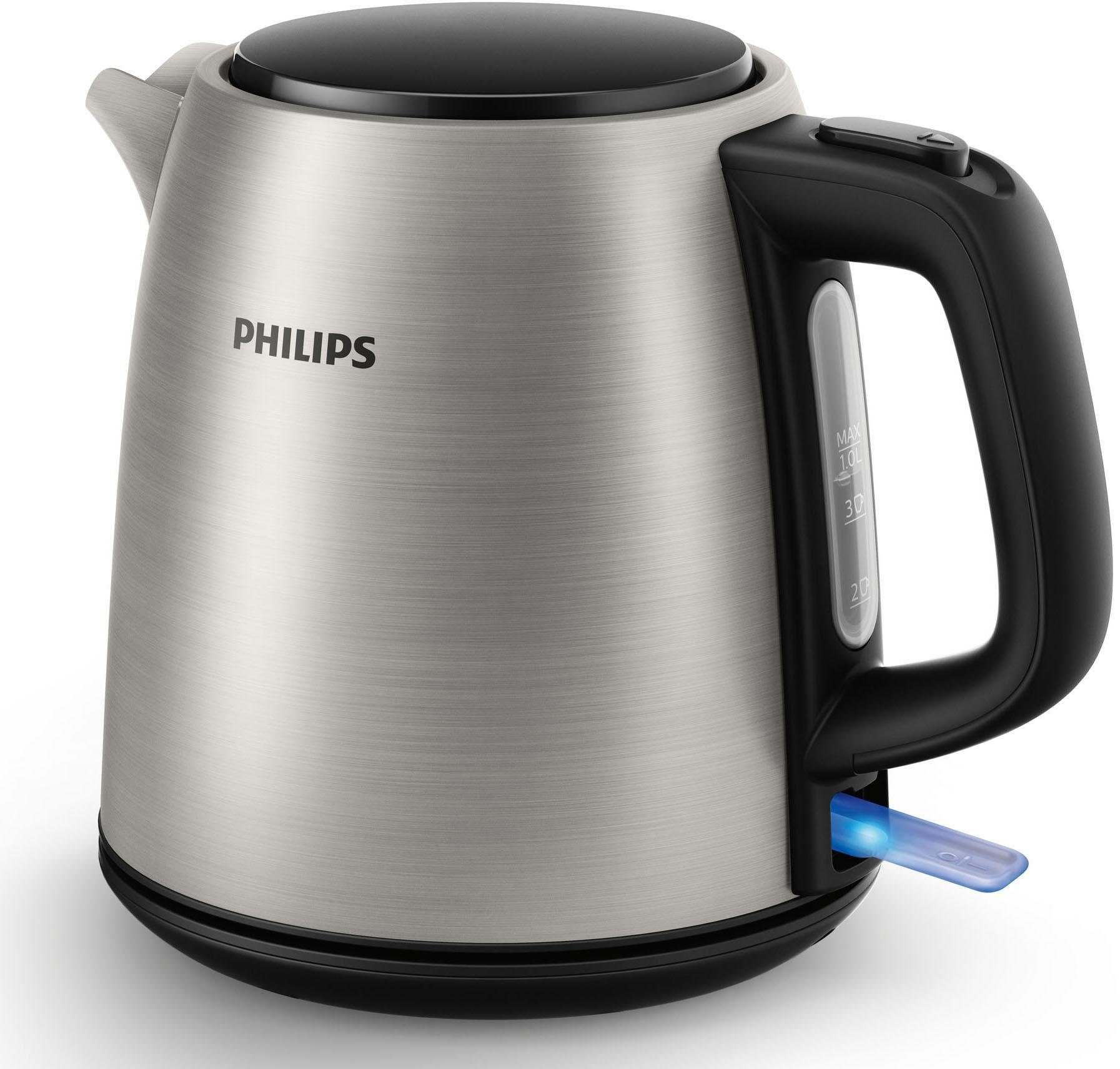 Philips Wasserkocher HD9348/10 Daily Collection, 1 Liter, 2.000 Watt, edelstahl