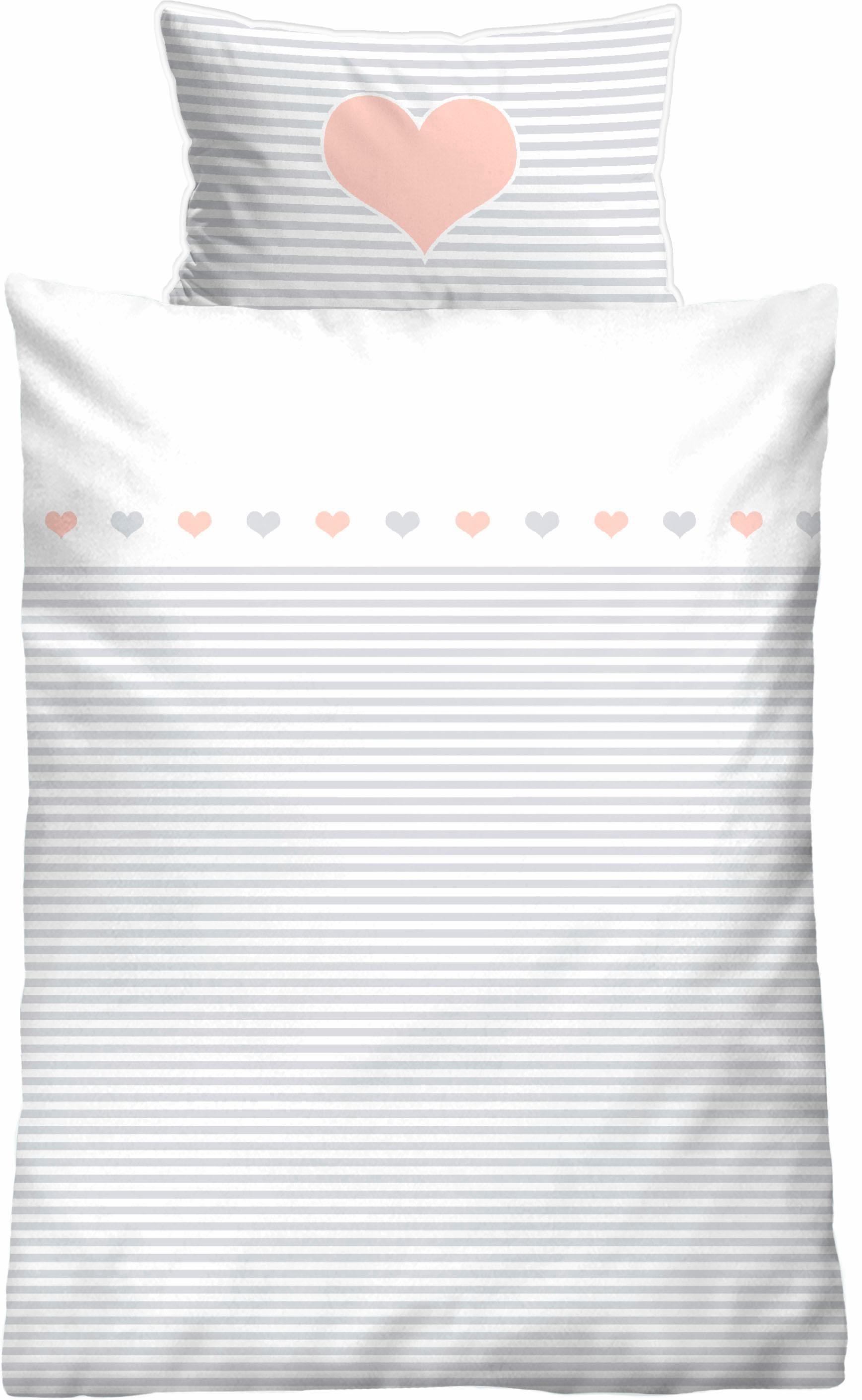 Kinderbettwäsche »Striped Heart«, Biberna, mit Querstreifen & Motiv | Kinderzimmer > Textilien für Kinder > Kinderbettwäsche | Biberna