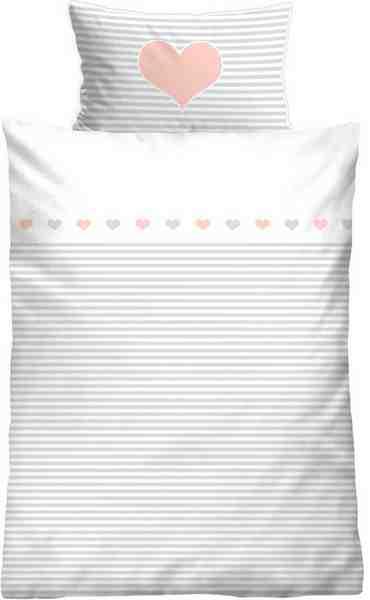 Kinderbettwäsche, Biberna, »Striped Heart«, mit Querstreifen & Motiv