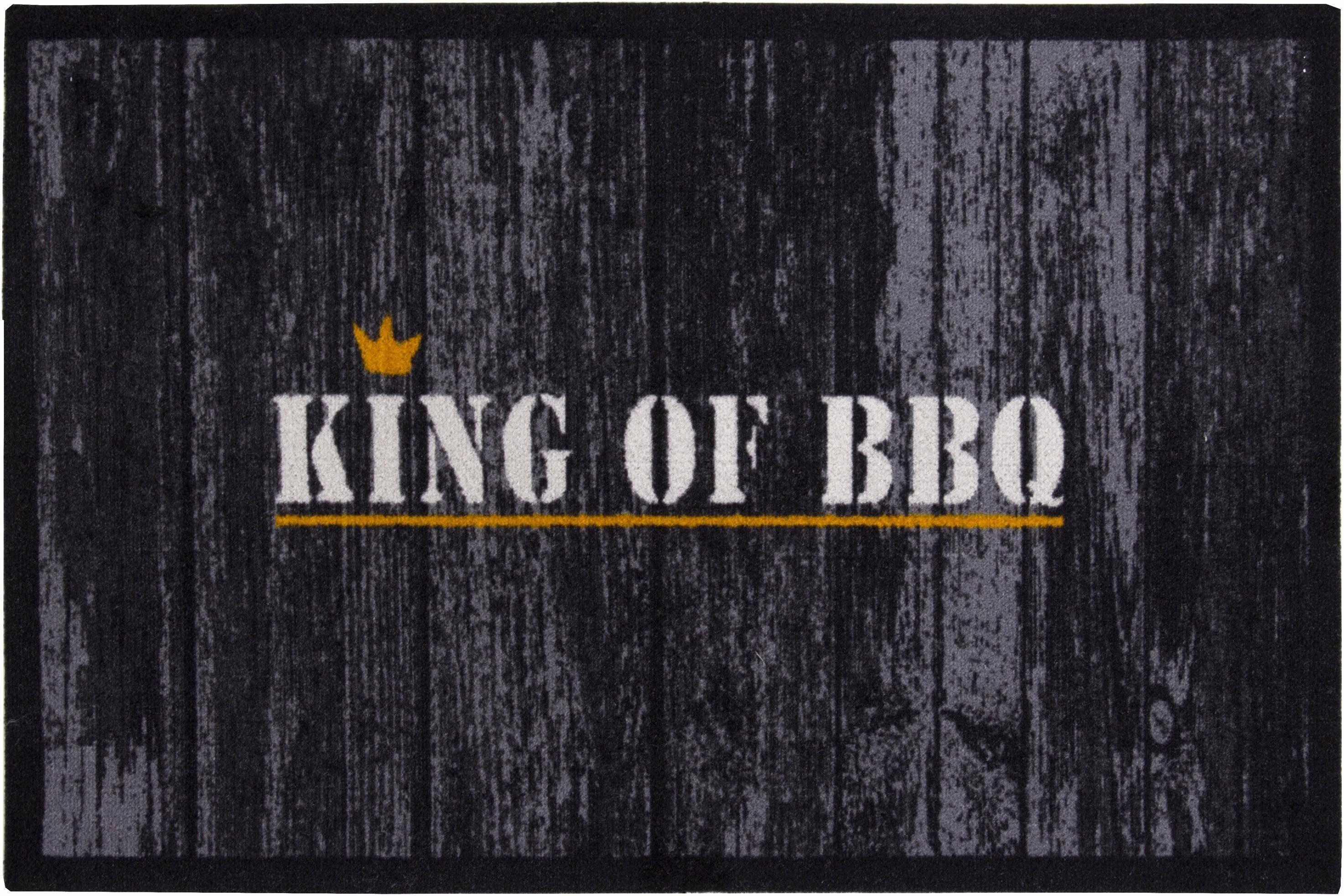Fußmatte »King of BBQ«, Andiamo, rechteckig, Höhe 3 mm, In- und Outdoorgeeignet