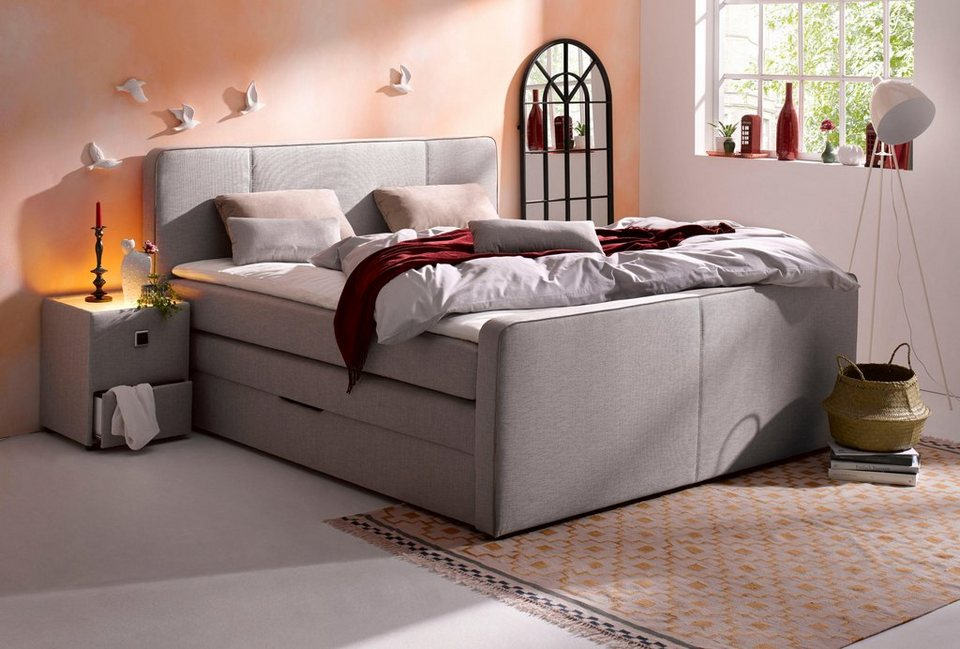 boxspringbett inkl topper in diversen ausf hrungen online kaufen otto. Black Bedroom Furniture Sets. Home Design Ideas