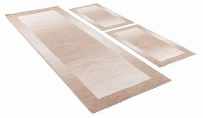 Bettumrandung »Gabbeh Ideal« THEKO, Höhe 6 mm, (3-tlg), Bettvorleger, Läufer-Set für das Schlafzimmer, mit Bordüre
