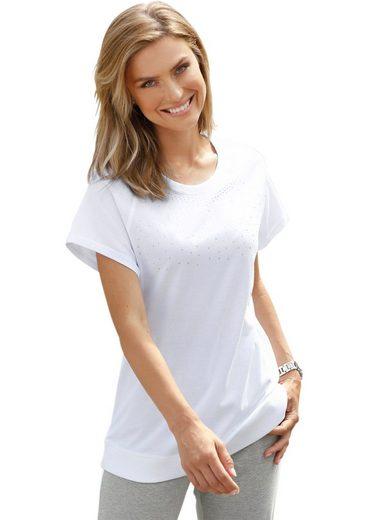 Classic Basics Shirt mit zahlreichen, funkelnden Steinchen