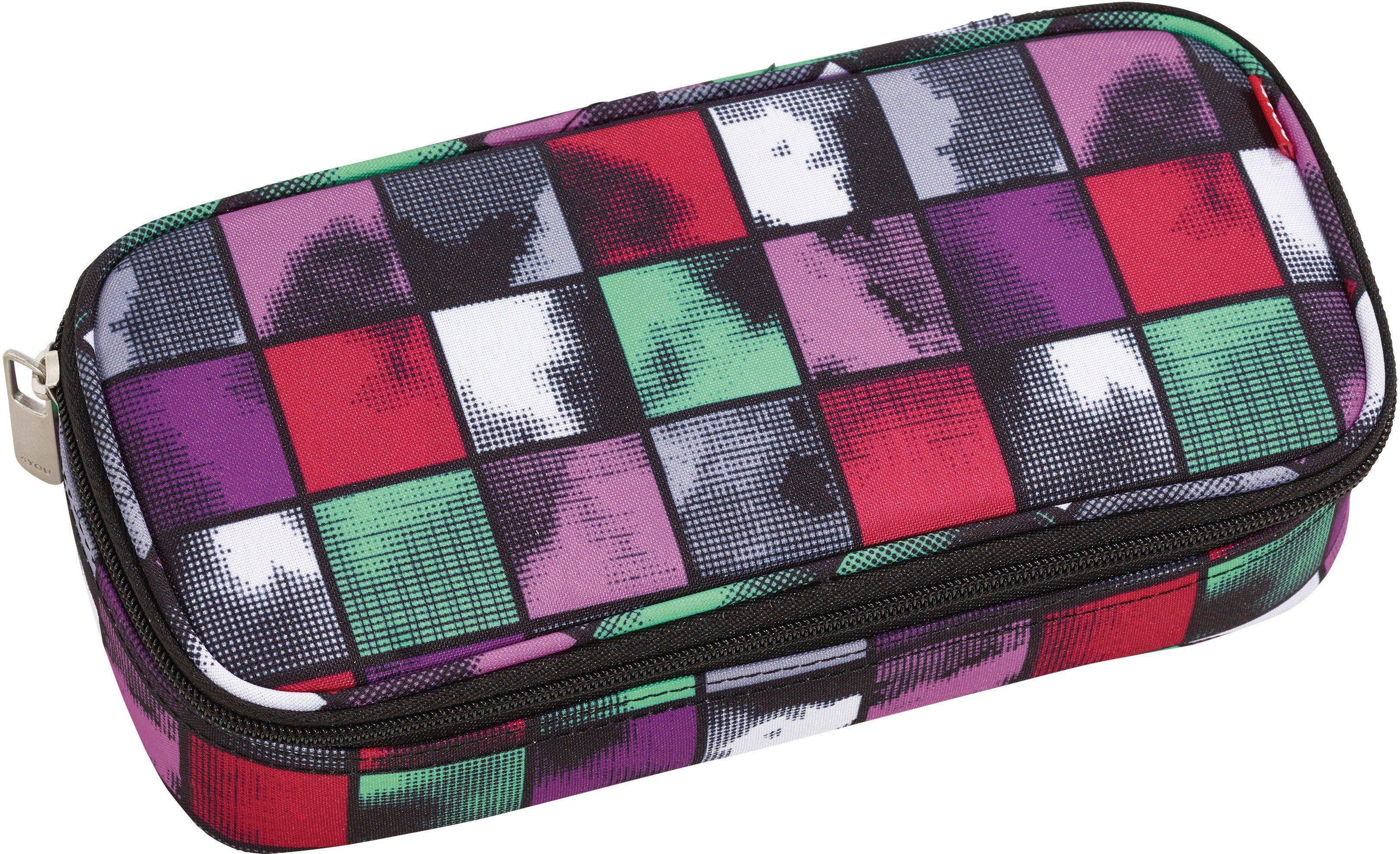 4YOU Mäppchen mit Geodreieck®, Squares Mint, »Pencil Case«