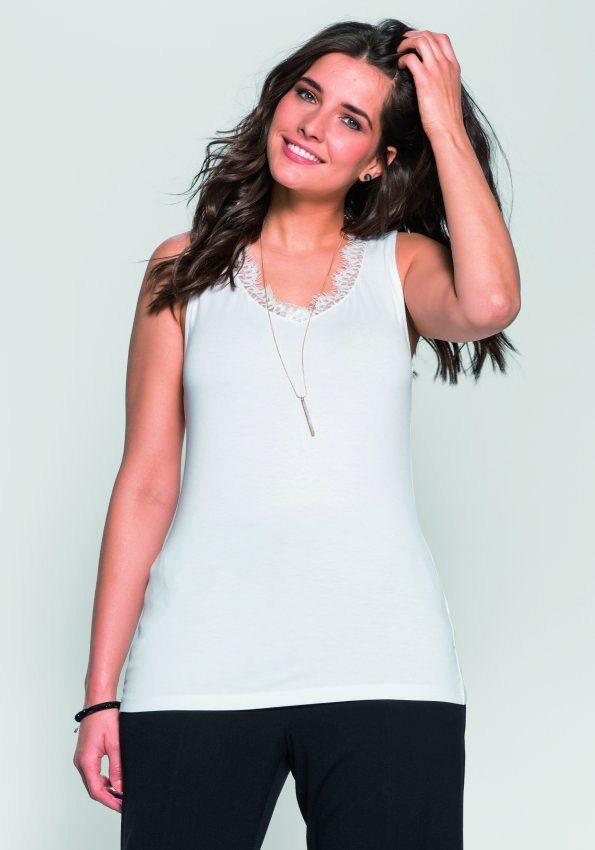 sheego Style Top mit Spitze in weiß