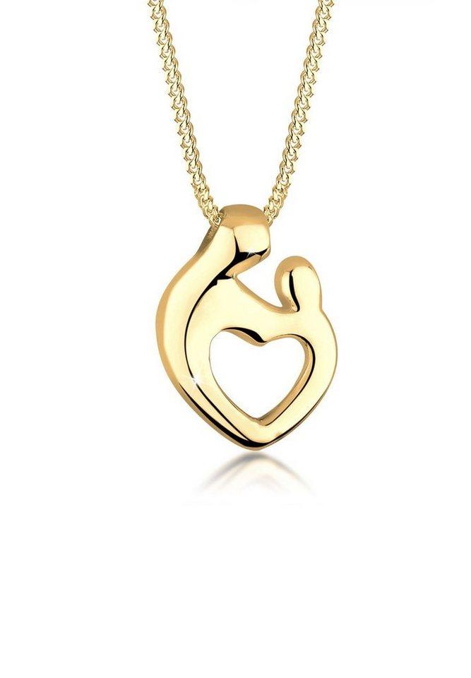 Goldhimmel Halskette »Mutter Kind Herz 925 Sterling Silber« in Gold