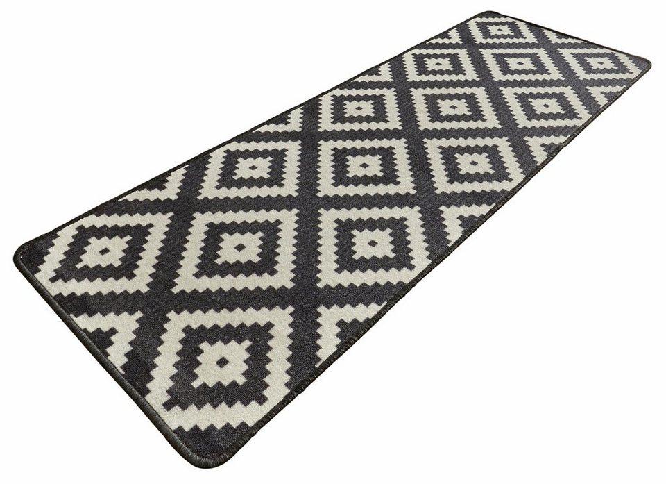 Läufer, Hanse Home, »Raute«, rutschhemmend beschichtet, Höhe 8 mm, getuftet in schwarz