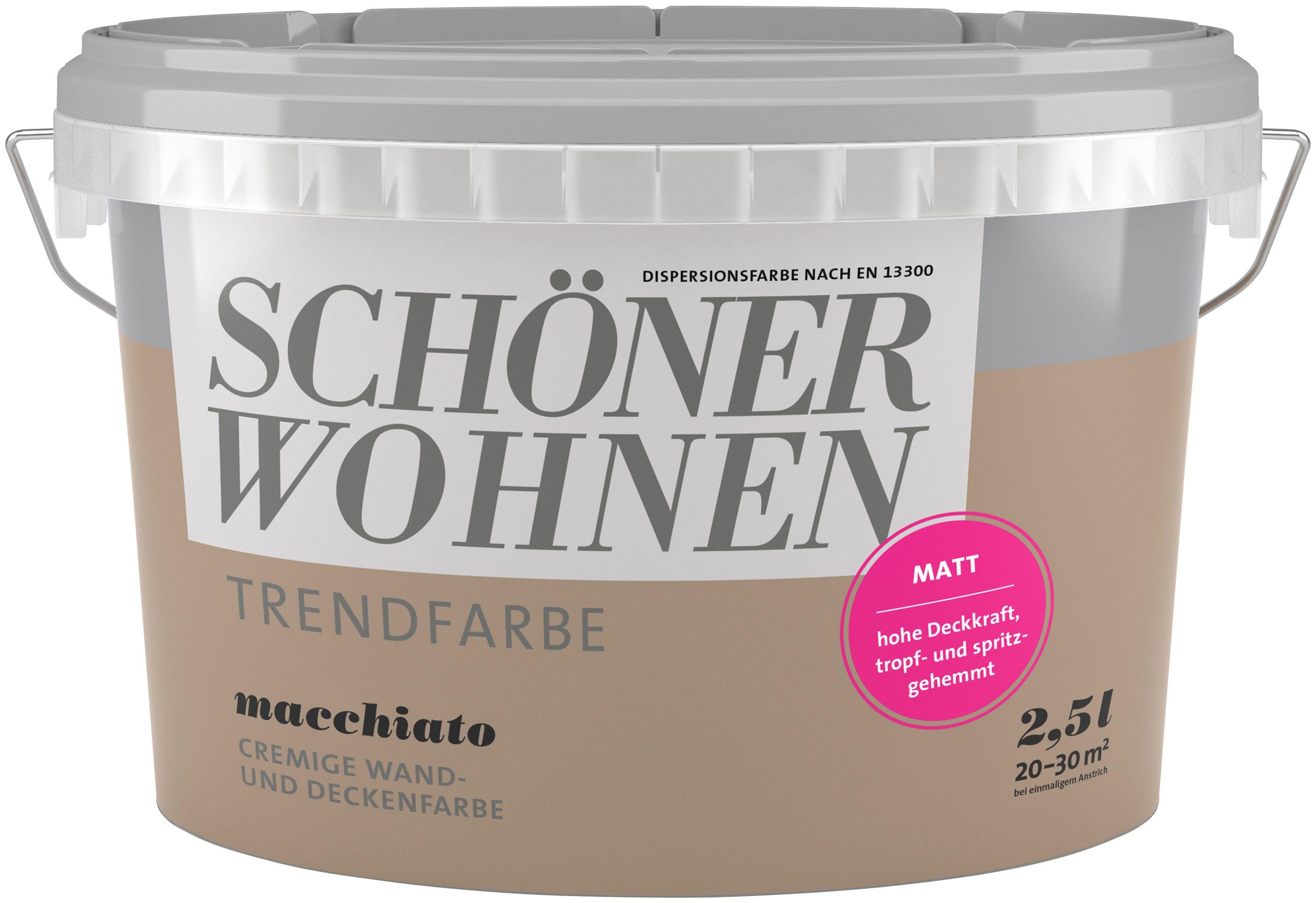 SCHÖNER WOHNEN FARBE Wand- und Deckenfarbe »Trendfarbe Macchiato, matt«, 2,5 l