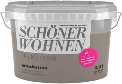 SCHÖNER WOHNEN FARBE Wand  Und Deckenfarbe »Trendfarbe Manhattan, Matt«, 2,