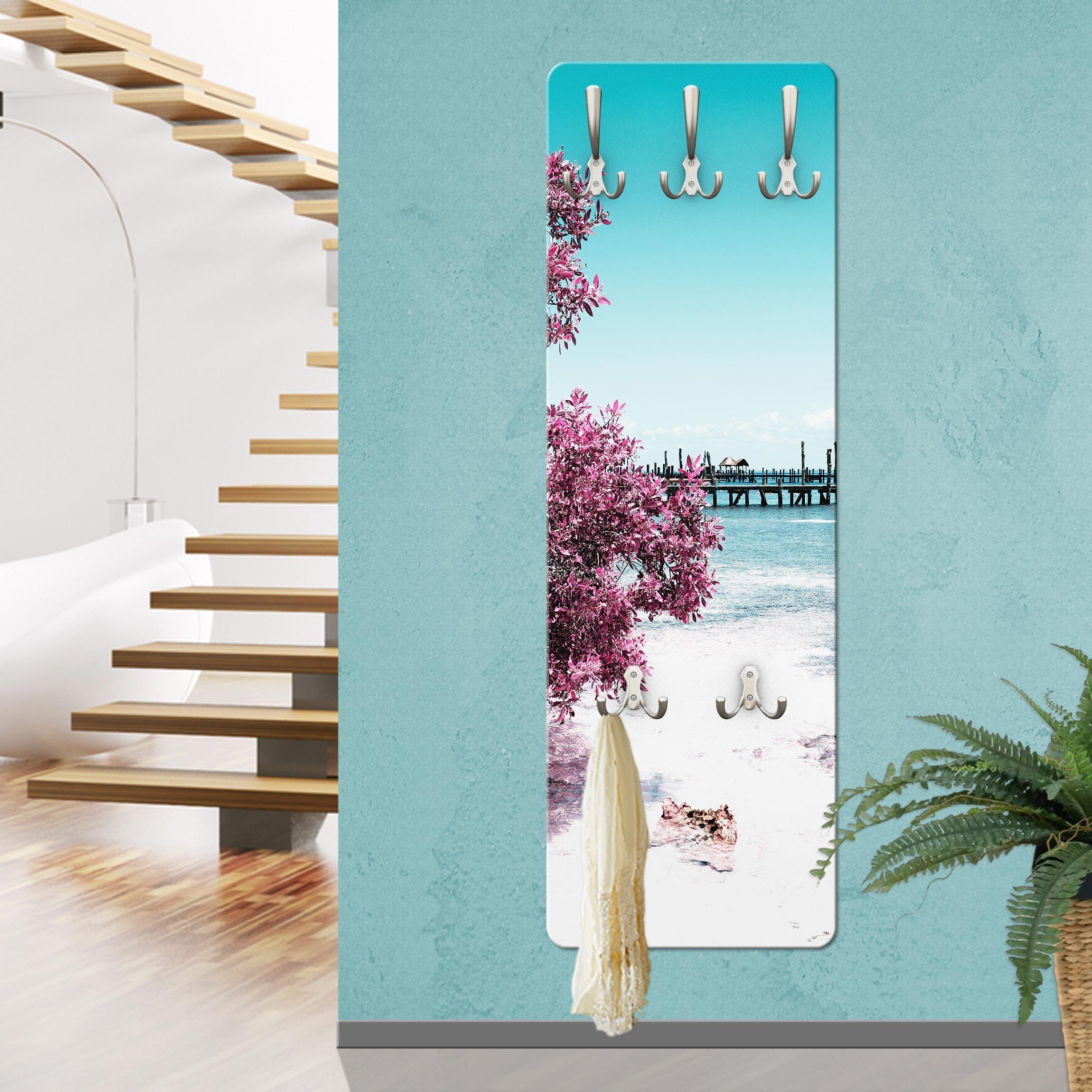 Bilderwelten Wandgarderobe »Paradies Strand Isla Mujeres« | Flur & Diele > Garderoben > Garderobenhaken | Weiß - Matt | Holz - Faserplatte - Metall | Bilderwelten
