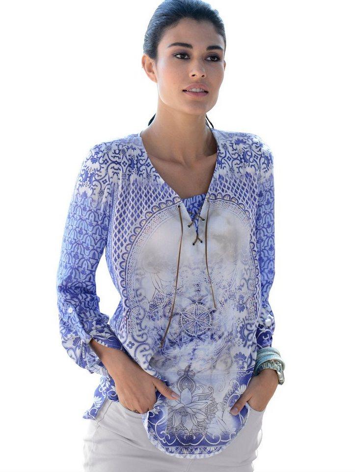 Damen Alba Moda  Tunika im außergewöhnlichen Dessin blau | 04055714623270