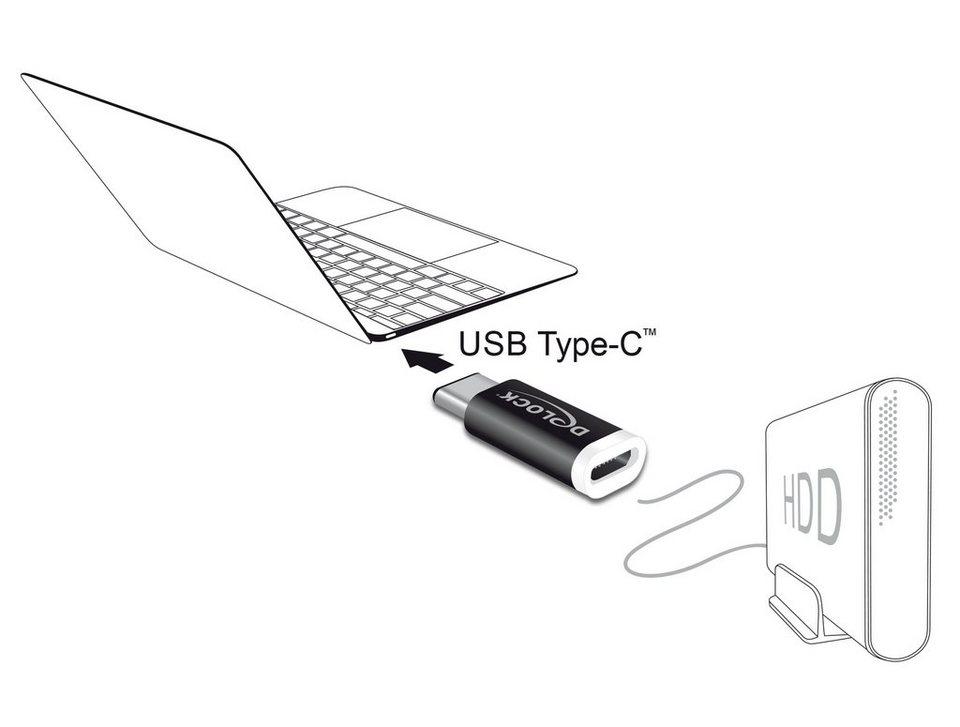 delock usb adapter usb 2 0 micro b buchse auf usb type c 2 0 stecker online kaufen otto. Black Bedroom Furniture Sets. Home Design Ideas