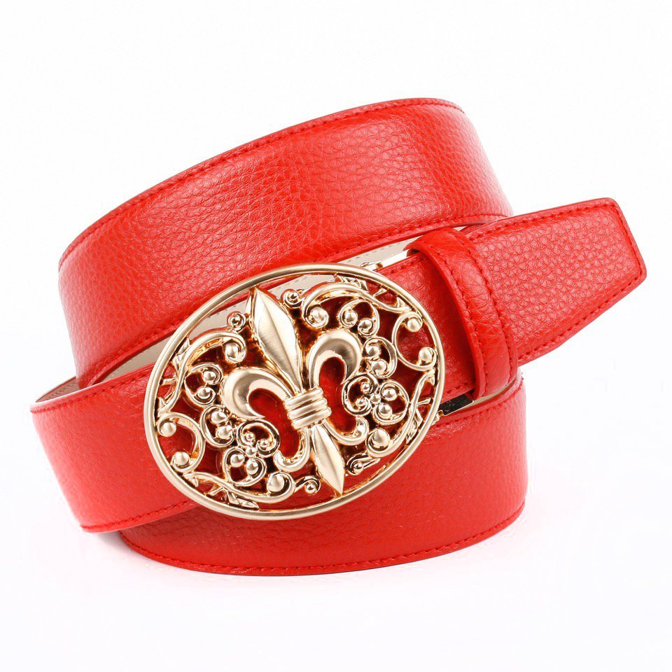 Anthoni Crown Ledergürtel mit Lilie Schließe in Rot
