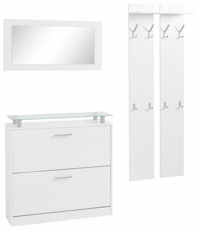 borchardt m bel garderoben set finn 3 tlg mit glasablage online kaufen otto. Black Bedroom Furniture Sets. Home Design Ideas
