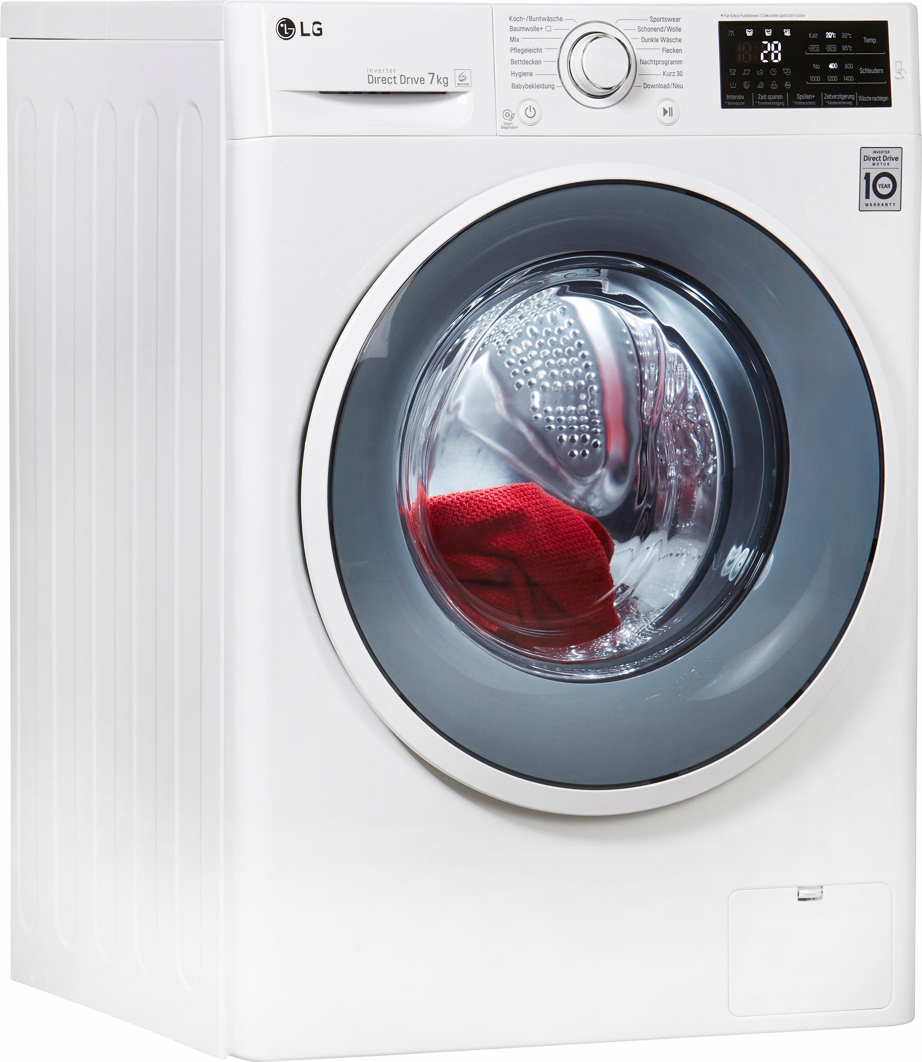 LG Waschmaschine F 14WM 7EN0, A+++, 7 kg, 1400 U/Min